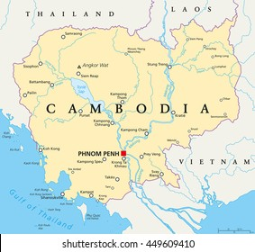 Cambodia political map with capital Phnom Penh, national borders, important cities, rivers and lakes. Kingdom in Indochina, Southeast Asia, once known as Khmer Empire. English labeling. Illustration