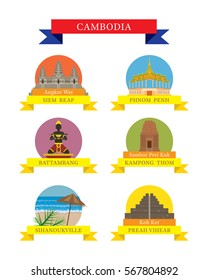 Cambodia Provinces and Landmarks Icons Set, City, Travel and Tourist Attraction