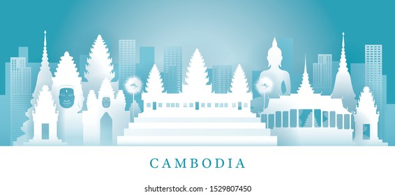 Cambodia Skyline Landmarks in Paper Cutting Style, Famous Place and Historical Buildings, Travel and Tourist Attraction
