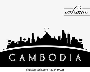 Cambodia skyline silhouette, black and white design, vector illustration