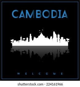 Cambodia, skyline silhouette vector design on parliament blue and black background.