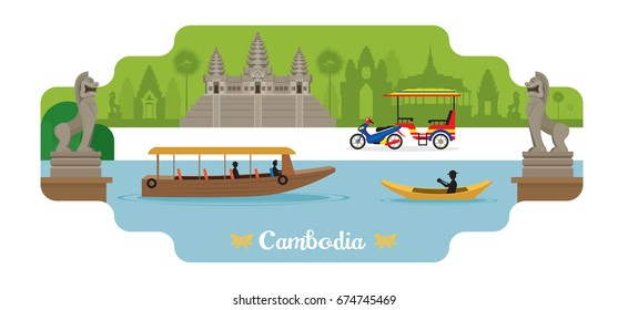 Cambodia Travel and Attraction Landmarks, Famous Place, Cityscape, Lake and Land