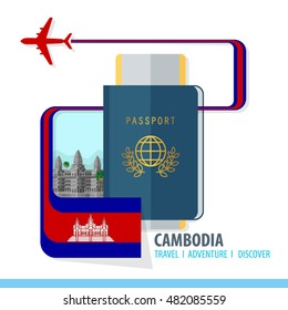 Cambodia Travel, Discover, Adventure - Most Famous Landmark in country - airplane logo - Country Flag - Passport and Boarding pass - in flat style.