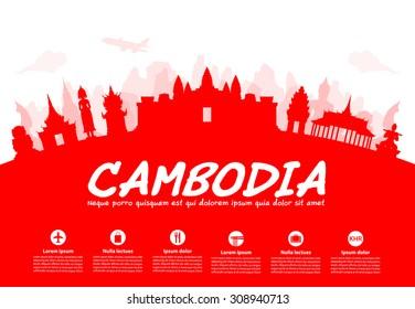 Cambodia Travel Landmarks. Vector and Illustration.