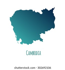 Cambodia vector map with color gradient and caption on white background. Can be used as element of your infographics or presentation