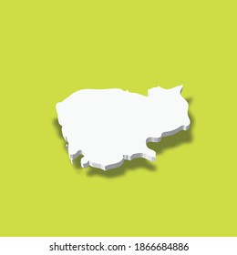 Cambodia - white 3D silhouette map of country area with dropped shadow on green background. Simple flat vector illustration.