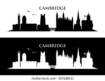 Cambridge UK skyline - vector illustration