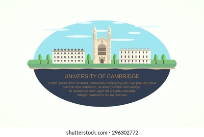 Cambridge University infographic icon (vector)