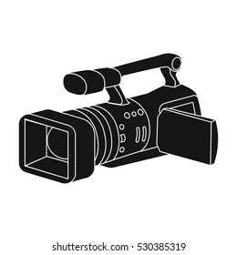 Camcorder icon in black style isolated on white background. Event service symbol stock vector illustration.