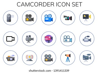 camcorder icon set. 15 flat camcorder icons.  Collection Of - video camera