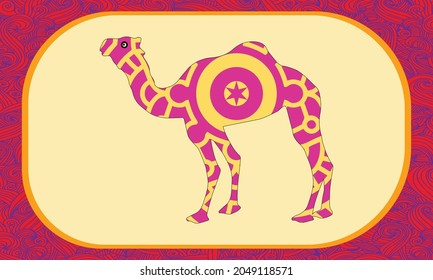 Camel. Animal. Zoo. Herbivores. Line art. Tattoo. Dudling. Zentangl. Stylized. Decorative. Drawing by hand. Isolated. Background.