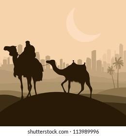 Camel caravan in arabic skyscraper city landscape illustration background vector
