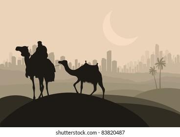 Camel caravan in arabic skyscraper city landscape illustration
