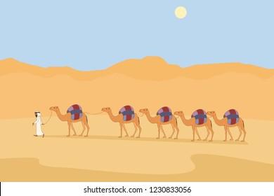 camel caravan at desert, funny minimalistic vector cartoon illustration