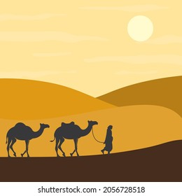 camel with caravan in the desert vector illustration design