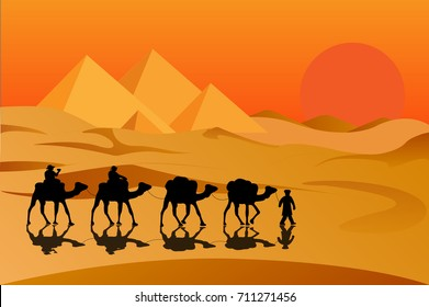 Camel caravan going to pyramids