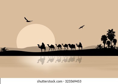 Camel caravan going through the desert on beautiful on sunset, vector illustration