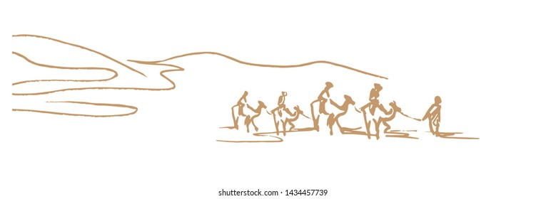 Camel caravan going through the sand dunes,Group of tourists are riding camels,simple sketch