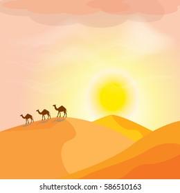 Camel caravan going through the sand dunes in the desert. Beautiful desert landscape with sunset.