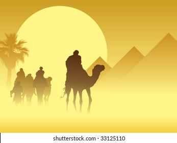 Camel caravan going through the sandstorm near pyramids