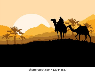 Camel caravan in wild desert mountain nature landscape background illustration vector