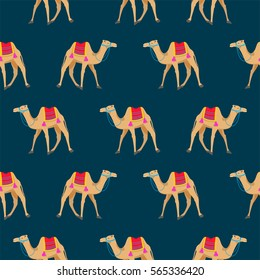 Camel cartoon vector seamless pattern on blue. Desert animal with decorated bridle and saddle.