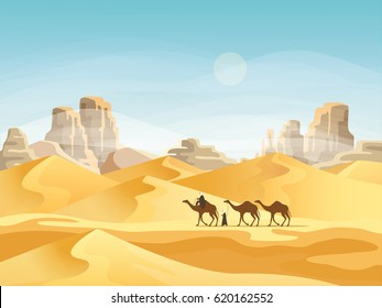 Camel convoy with arabic people in desert with mountains. Caravan on desert meadow at sunset, panoramic and outside view on wild nature. Landscape and journey, travel and africa, tourism theme