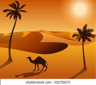 camel in the desert landscape vector illustration