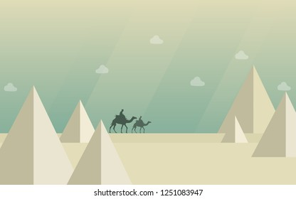 camel desert pyramid vector, Camel caravan going through the desert on beautiful on sunset, vector illustration, flat design, beautiful colors. check the page for another colors, desert safari