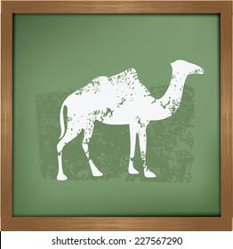 Camel design on blackboard background,grunge vector