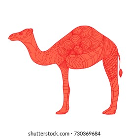 Camel. Design Zentangle. Hand drawn camel with abstract patterns on isolation background. Design for spiritual relaxation for adults. Print for polygraphy, posters, t-shirts and textiles. Zen art