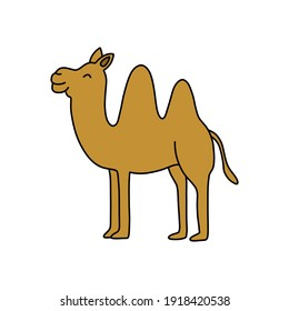 camel doodle icon, vector illustration