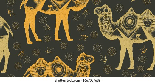 Camel double exposure. Ancient Egypt, Pharaoh, Ankh, Pyramid. Seamless pattern. Packing old paper, scrapbooking style. Vintage background. Medieval manuscript, engraving art
