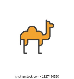 Camel dromedary filled outline icon, line vector sign, linear colorful pictogram isolated on white. Desert animal symbol, logo illustration. Pixel perfect vector graphics