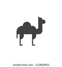 Camel dromedary vector icon. filled flat sign for mobile concept and web design. Desert animal simple solid icon. Symbol, logo illustration. Pixel perfect vector graphics