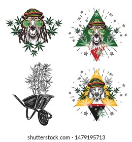 A camel with green glasses and a rastaman hat and hemp leaves. A dog in a rastaman beret. Set of sketch illustrations.