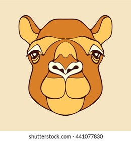 Camel. Head of a camel. Camel's head. Head of the animal with a detailed drawing of parts of the face. Camel head brown color with black outline. Camel looking directly at you. Vector cartoon camel