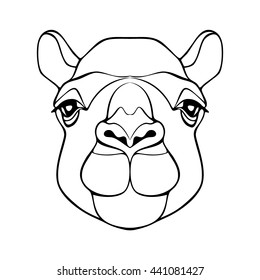 Camel. Head of camel. Camel's head. Head of the animal with a detailed drawing of parts of the face. Camel head monochrome color with black outline. Camel looking directly at you. Vector cartoon camel