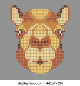 Camel. Head of a camel on a gray background. Image technique small square, colorful mosaic. Camel head in yellow brown color tones. Image can be used as a scheme for embroidery. Animal vector logo.