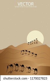 camel and human walking on the desert backgound