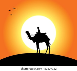 A camel and a man at sunset. Editable vector illustration.