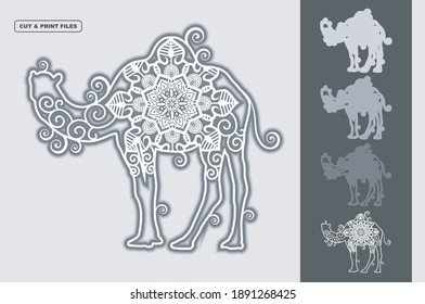 Camel Mandala Vector 3D Layered