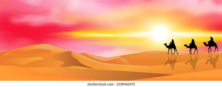 Camel riders in a sandy desert. Caravan on a sunset background.