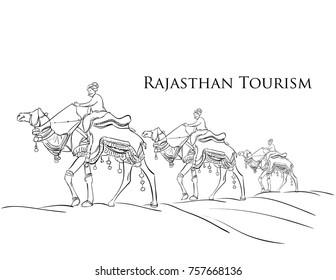 camel safari Rajasthan tourism vector illustration