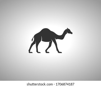 Camel Silhouette on White Background. Isolated Vector Animal Template for Logo Company, Icon, Symbol etc