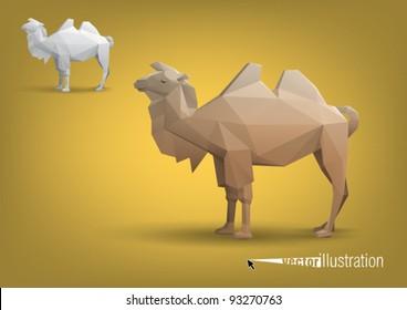 Camel stylized triangle polygonal model, vector eps10