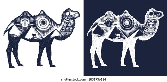 Camel tattoo art. Ancient Egypt, Pharaoh, Ankh, Pyramid. Symbol of archeology, ancient civilizations. Double exposure animals. Black and white vector graphics