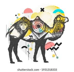 Camel tattoo art. Ancient Egypt, Pharaoh, Ankh, Pyramid. Symbol of archeology. Zine culture concept. Hand drawn vector glitch tattoo, contemporary  cyberpunk collage. Vaporwave art