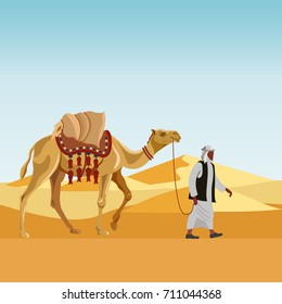 Cameleer (camel driver) with camel in a desert. Vector illustration