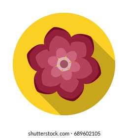 Camelia Flower Flat Icon with shadow. Vector Icon